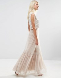 Needle And Thread Lace Tulle Maxi Skirt Rose Beige