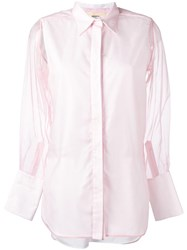 Ports 1961 Sheer Sleeves Shirt Pink Purple