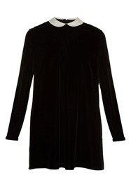 Valentino Contrast Collar Smocked Velvet Dress Black Multi