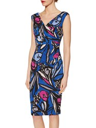 Gina Bacconi Abstract Floral Print Jersey Dress Cobalt