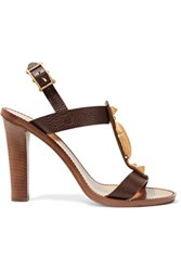 Valentino Embellished Textured Leather Sandals Dark Brown