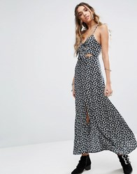 Kiss The Sky Cami Maxi Dress With Tie Front And Split In Grunge Floral Navy