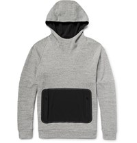 Under Armour Sportswear Stretch Canvas And Shell Panelled Honeycomb Knit Cotton Hoodie Gray