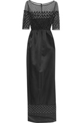 Temperley London Floral Appliqued Silk Tulle And Silk Blend Satin Gown Black