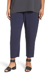 Eileen Fisher Plus Size Women's Silk Georgette Crepe Ankle Pants Midnight