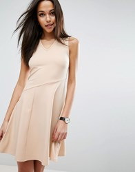 Asos Skater Dress With Asymmetric Full Skirt Dress With V Neck Nude Pink
