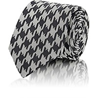 Barneys New York Men's Houndstooth Jacquard Necktie Black Blue Black Blue