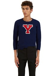 Raf Simons Destroyed Varsity Cropped Sweater Blue