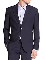 Saks Fifth Avenue Textured Wool Suit Blue