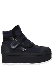 Marni 50Mm Canvas And Leather Platform Boots Navy Black