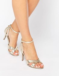 Head Over Heels By Dune Maddie Ankle Strap Gold Snake Print Heeled Sandals Gold Snake