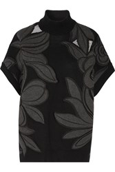 3.1 Phillip Lim Mesh Paneled Embroidered Cotton And Cashmere Blend Sweater Black