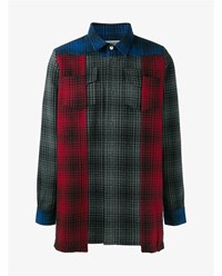 Off White Patchwork Check Shirt Red Blue Grey Off White Denim