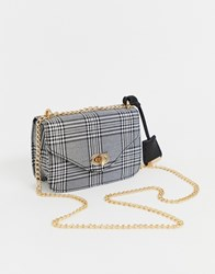 Glamorous Cross Body With Chain Strap In Check Print Multi