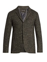 John Varvatos Single Breasted Wool And Linen Blend Jacket Charcoal