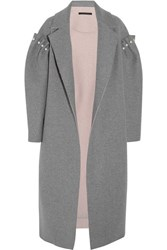 Mother Of Pearl Mitchell Oversized Embellished Bonded Wool Coat Gray