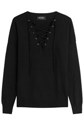 The Kooples Wool Pullover With Lace Up Front Black