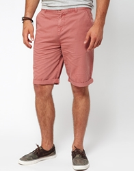 Asos Chino Shorts In Longer Length Pink