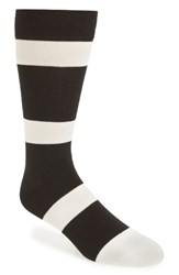 Richer Poorer Men's London Stripe Socks Black Cream