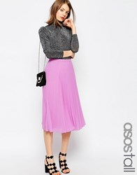 Asos Tall Pleated Midi Skirt Pink