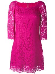 Dolce And Gabbana Floral Lace Dress Pink And Purple