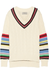 Preen Blythe Striped Cable Knit Cotton Sweater