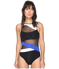 Jets By Jessika Allen Electrify High Neck Mesh One Piece Black Oceanic Women's Swimsuits One Piece Blue