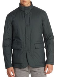 Z Zegna Solid Snap Front Jacket Green