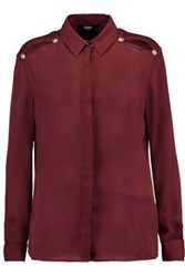 Versus By Versace Embellished Chiffon Shirt Claret