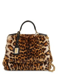 Dolce And Gabbana Sicily Leopard Print Faux Fur Bag Brown