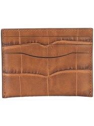 Coach Crocodile Embossed Card Case Brown