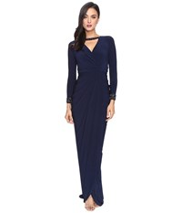 Adrianna Papell Long Sleeve Deep V Neck Wrap Front Jersey Dress With Wrap Skirt Midnight Women's Dress Navy