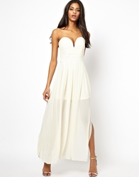 Tfnc Maxi Dress With Plunge Bustier Cream