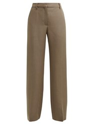Valentino Straight Leg Mohair And Wool Blend Trousers Brown