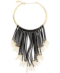 Inc International Concepts Gold Tone Imitation Pearl And Faux Suede Fringe Necklace Only At Macy's Black