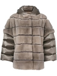 Cara Mila Arianna Mink And Down Jacket Feather Down Mink Fur Goose Down Grey