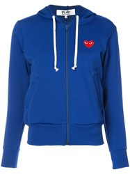 Comme Des Garcons Play Zip Up Hoodie Women Polyester M Blue