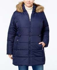 American Rag Trendy Plus Size Faux Fur Trim Puffer Coat Only At Macy's Navy