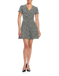 Michael Michael Kors Short Sleeve Tweed V Neck Fit And Flare Dress Black Beige