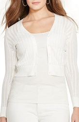 Plus Size Women's Lauren Ralph Lauren Pointelle Cotton V Neck Cardigan White