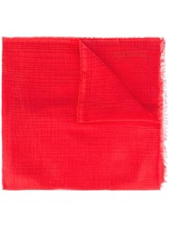 Rick Owens Frayed Edge Scarf Red
