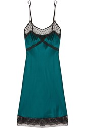 Mimi Holliday Rubinette Lace And Mesh Trimmed Silk Chemise Green