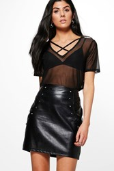 Boohoo Leah Cross Strap Mesh T Shirt Black