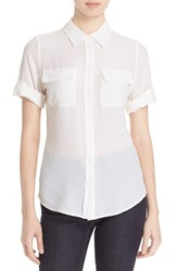 Women's Equipment 'Slim Signature' Short Sleeve Silk Shirt Bright White