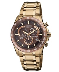 Citizen Men's Eco Drive Perpetual Chrono A T Rose Gold Tone Stainless Steel Bracelet Watch 42Mm At4106 52X