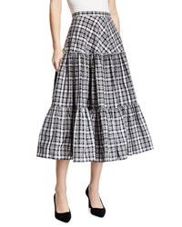 Michael Kors Tiered Madras Midi Skirt Gold