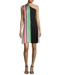 Diane Von Furstenberg One Shoulder Pleated Ribbon Dress Multicolor