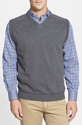Men's Big And Tall Cutter And Buck 'Broadview' V Neck Sweater Vest Charcoal Heather