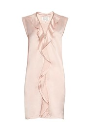 Maison Martin Margiela Ruffle Trimmed Zip Through Satin Dress