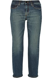 Victoria Beckham Slouch Cropped Mid Rise Boyfriend Jeans Blue